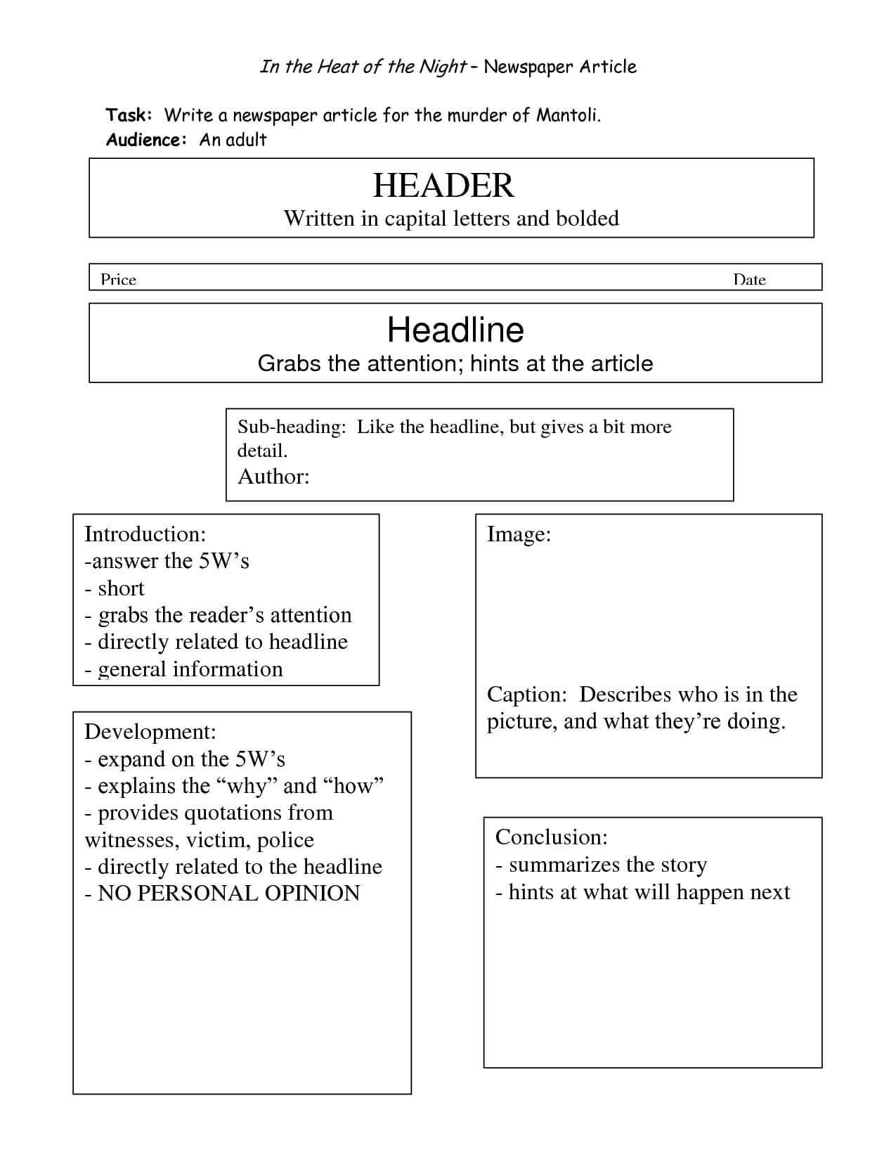 Best Photos Of Writing Newspaper Article Template Regarding Best Report Format Template