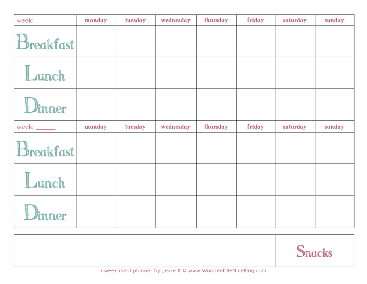 Bi Weekly Meal Planning Template | Weekly Meal Planner Intended For Meal Plan Template Word