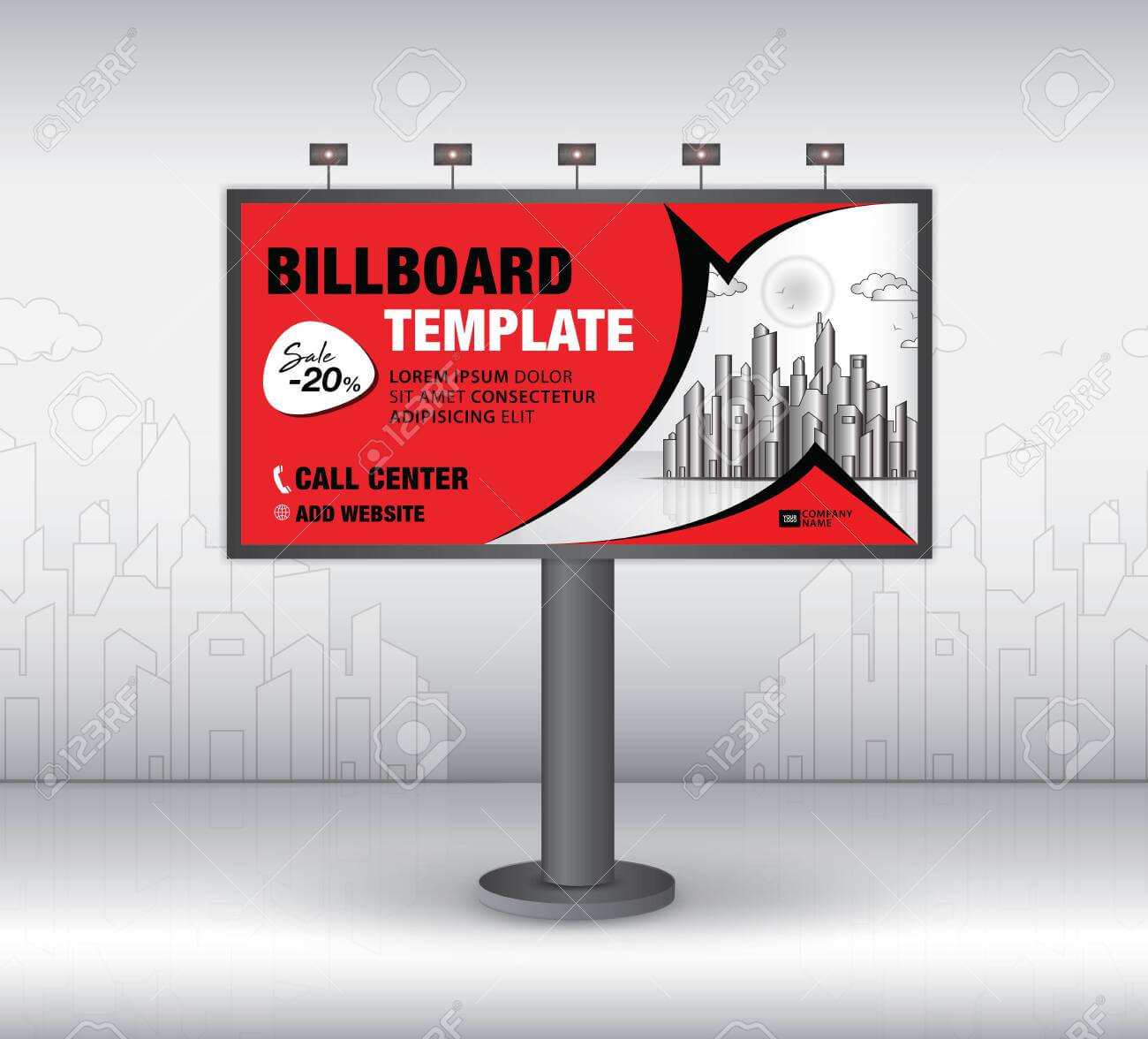Billboard Design Vector, Banner Template, Advertisement, Realistic.. Inside Outdoor Banner Template