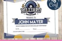 Billiard – Certificate – Printable – 3Grafik | Printable for Swimming Certificate Templates Free