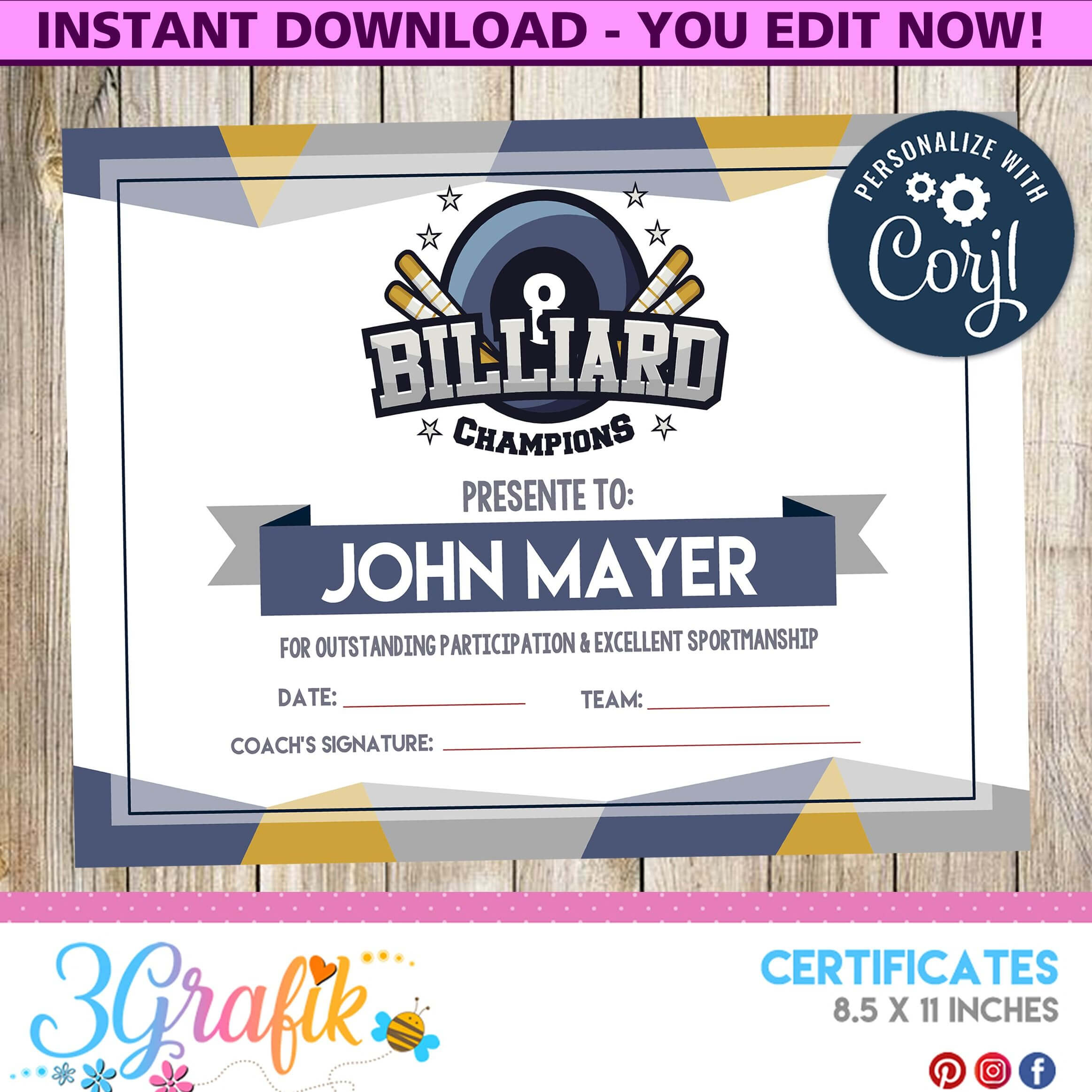 Billiard – Certificate – Printable - 3Grafik | Printable Inside Free Swimming Certificate Templates
