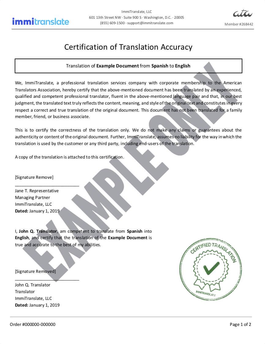 Birth Certificate Translations | Immitranslate Inside Birth Certificate Translation Template Uscis