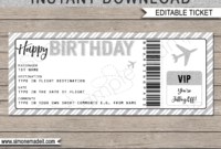 Birthday Boarding Pass Gift Ticket Template | Surprise Plane regarding Track And Field Certificate Templates Free