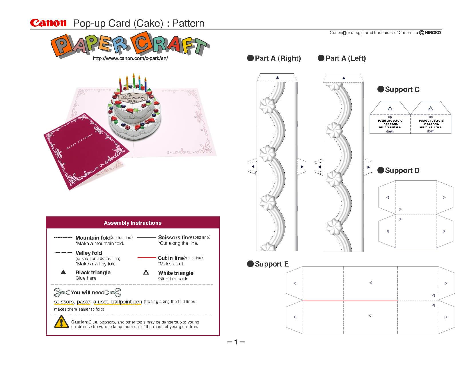 Birthday Cake Pop Up Card Template | Pop Up Card Templates Pertaining To Printable Pop Up Card Templates Free