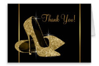 Black And Gold High Heel Shoe Thank You | Zazzle | Gold in High Heel Template For Cards