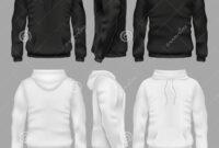 Black And White Blank Sweatshirt Hoodie Vector Templates inside Blank Black Hoodie Template