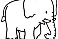 Black And White Elephant Coloring Pages Intended For Blank Elephant Template