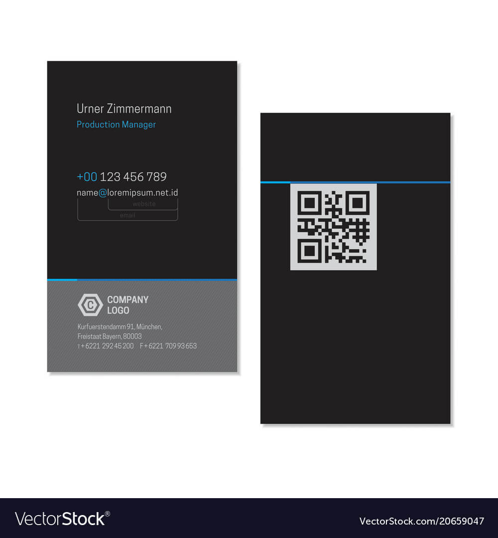 Black Elegant Name Card Template With Qr Code With Regard To Qr Code Business Card Template