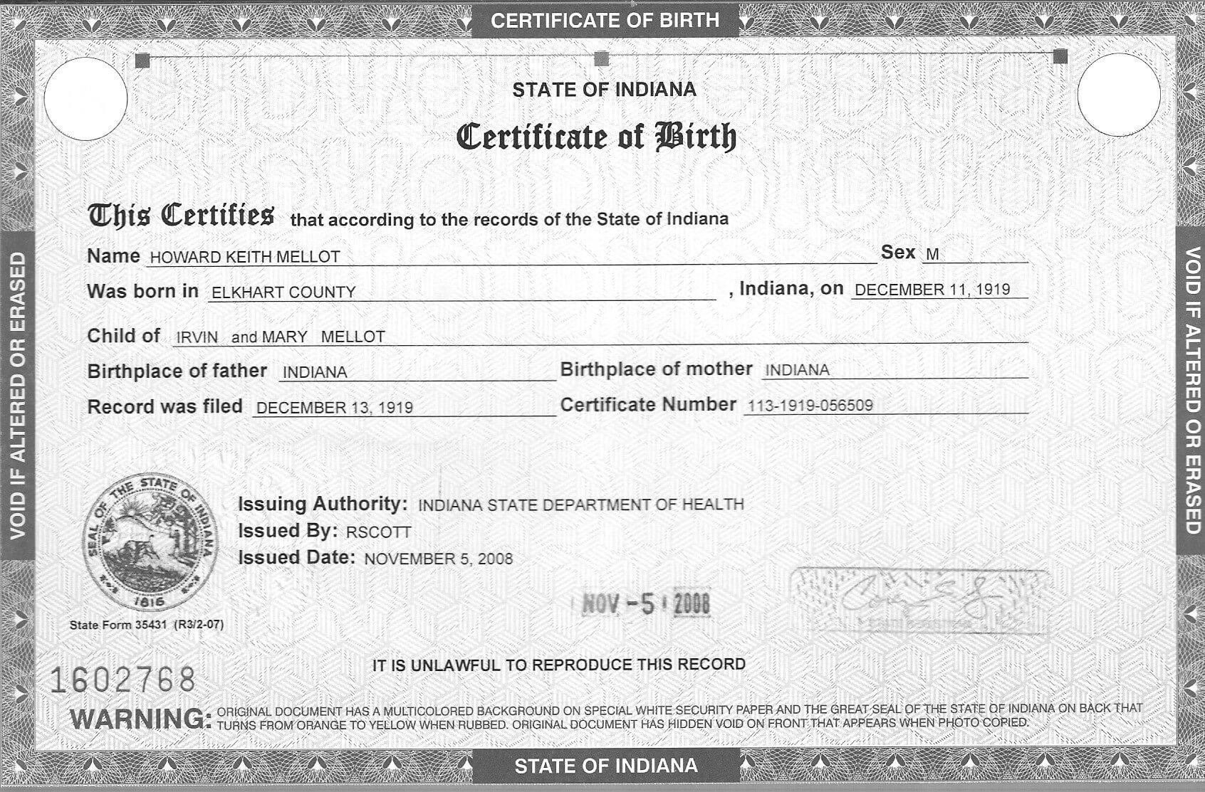 Blank Birth Certificate Pdf Fresh Sample Blank Certificate 8 In Editable Birth Certificate Template