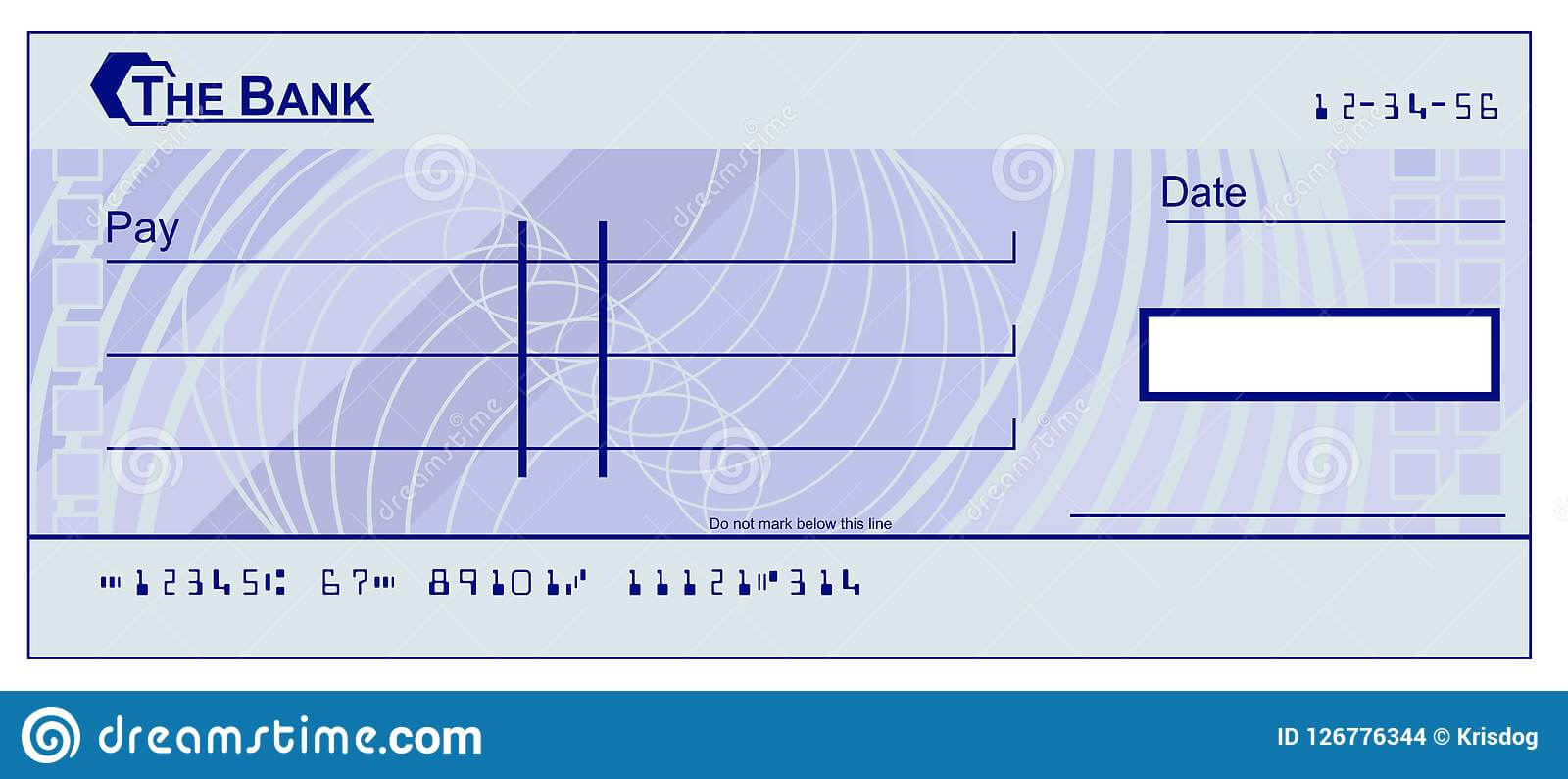 Blank Cheque Stock Vector. Illustration Of Design, Blue Inside Blank Cheque Template Download Free