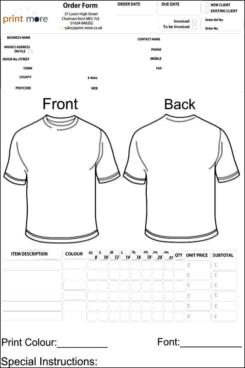 Blank Clothing Order Form Template | Besttemplates123 Pertaining To Blank T Shirt Order Form Template