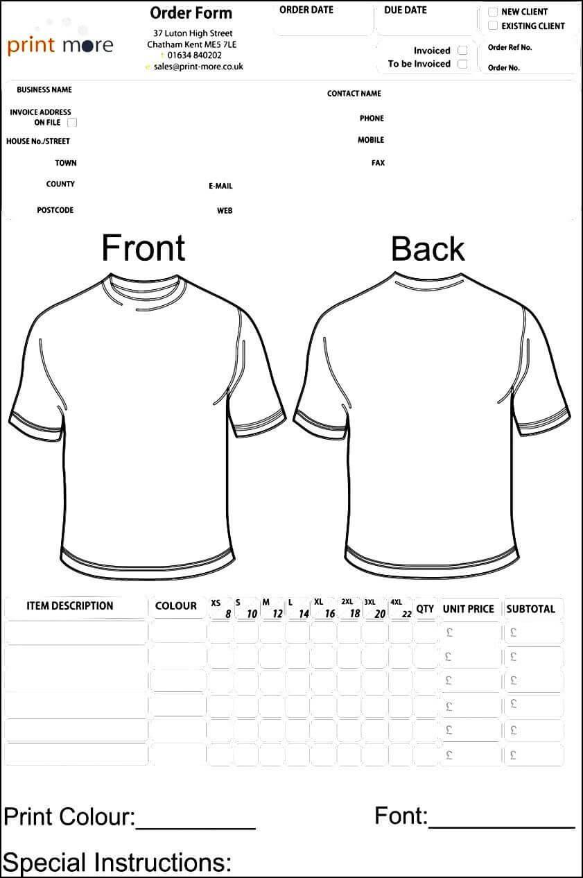 Blank Clothing Order Form Template | Besttemplates123 Regarding Printable Blank Tshirt Template