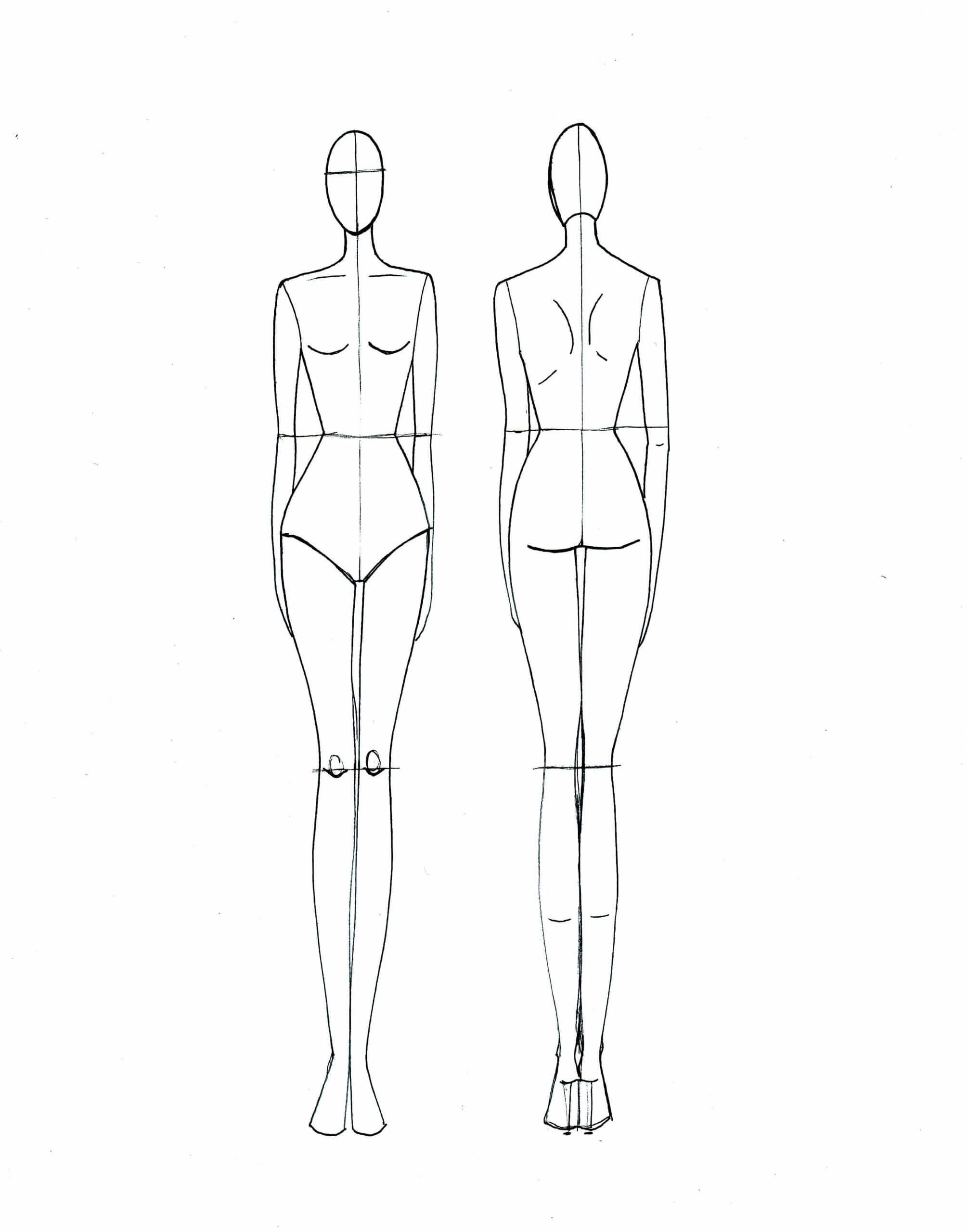 Blank Fashion Design Models | Fashion Illustration Template In Blank Model Sketch Template