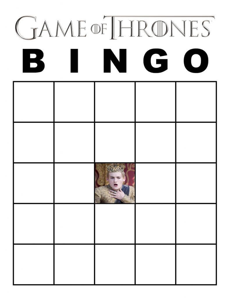 Blank Game Of Thrones Bingo Card With Joffrey | Game Of Within Bingo Card Template Word