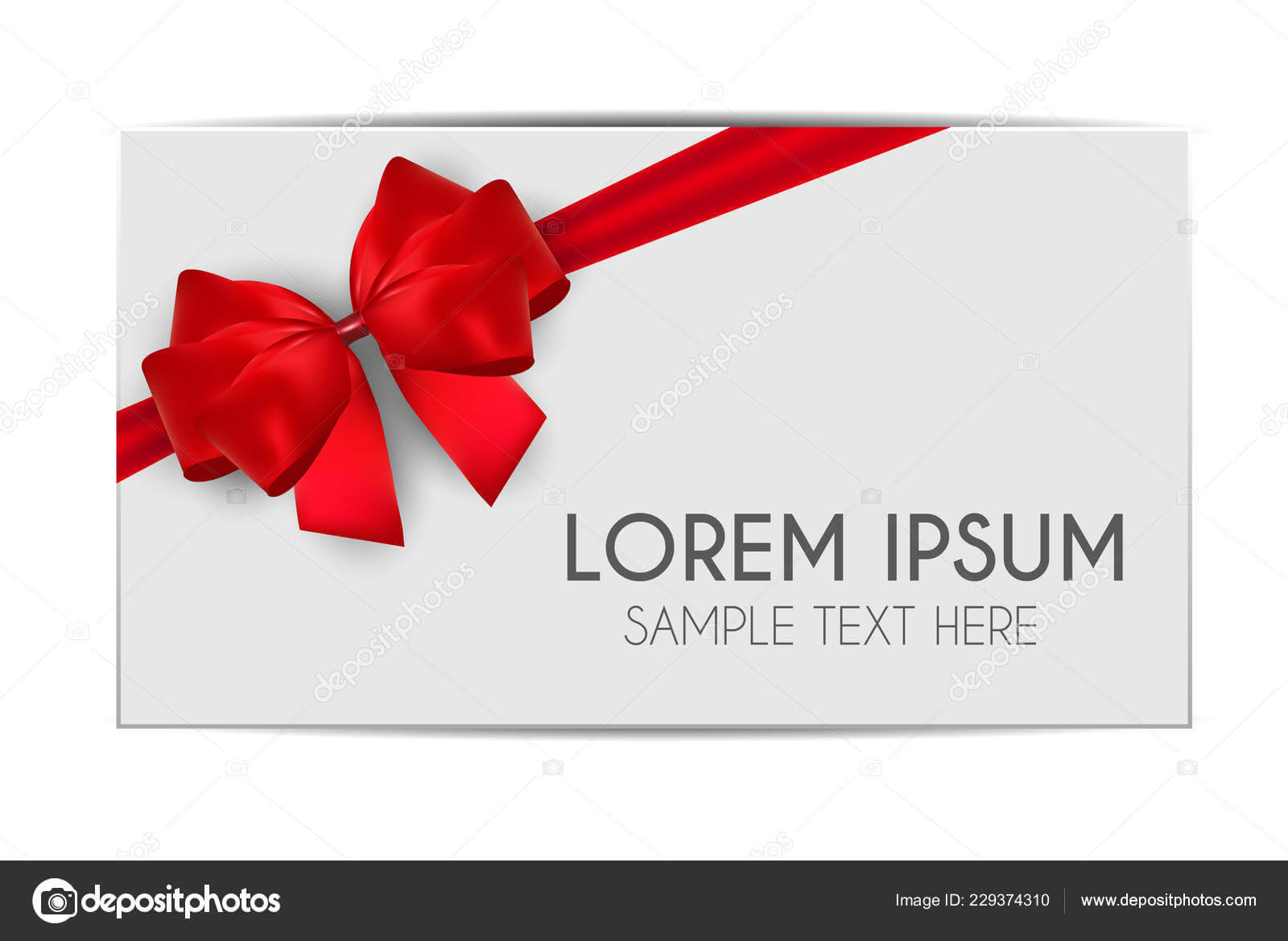 Blank Gift Card Template Red Bow Ribbon Vector Illustration For Present Card Template