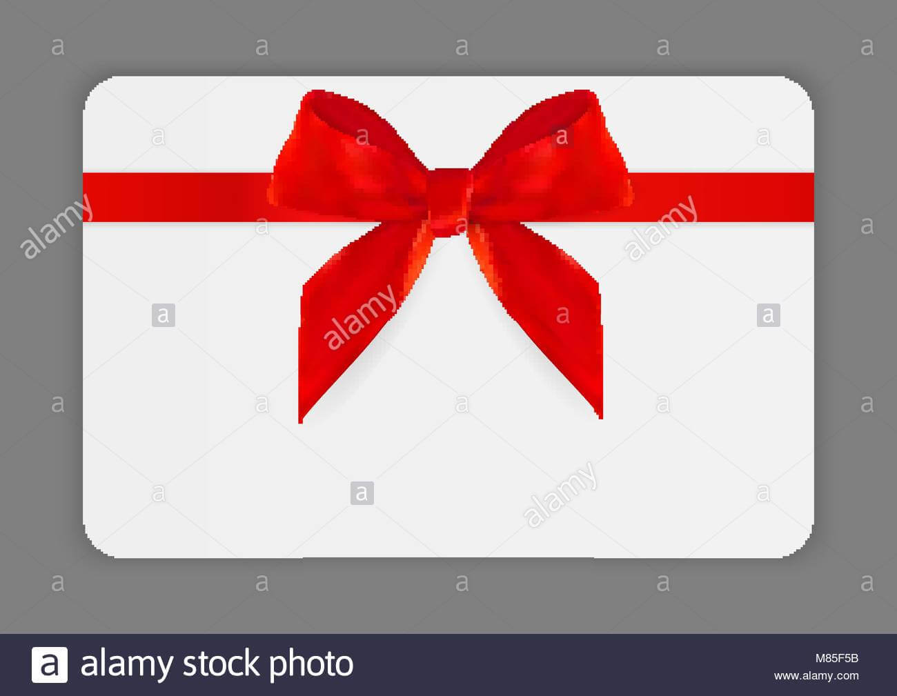 Blank Gift Card Template With Red Bow And Ribbon. Vector In Present Card Template