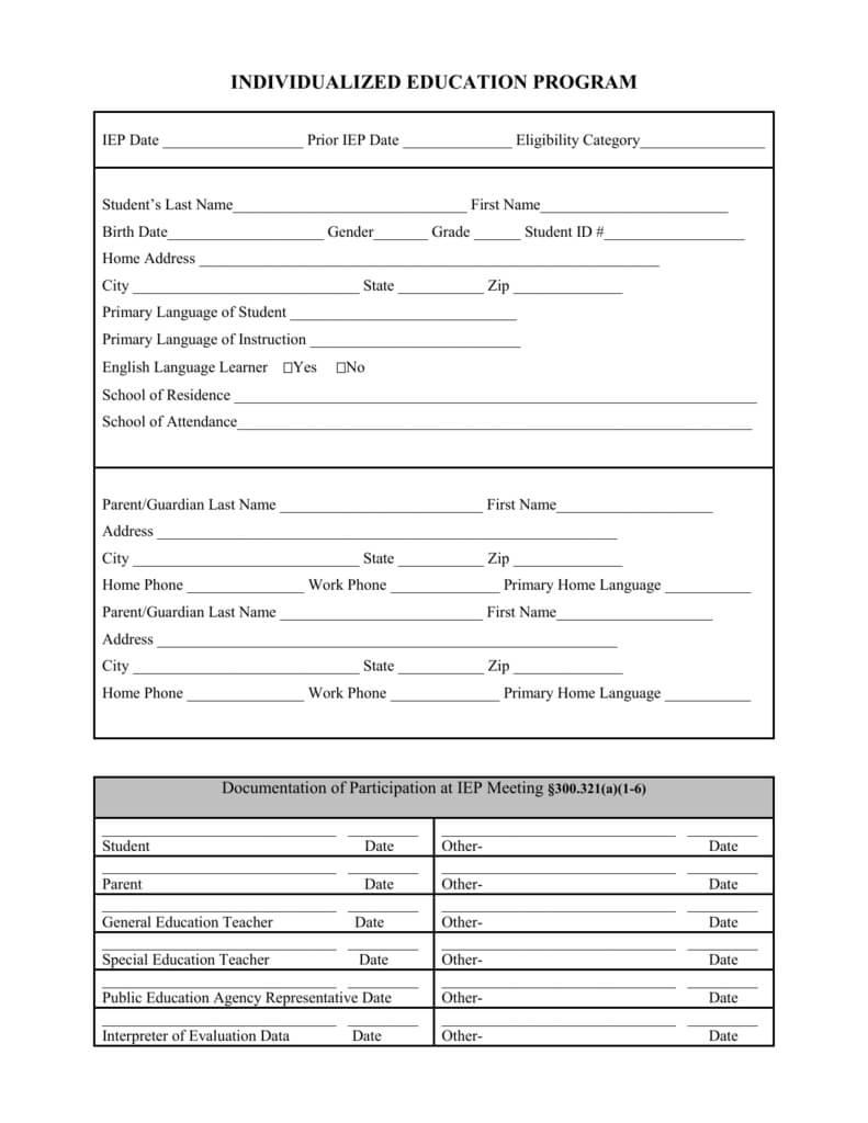 Blank Iep Form Within Blank Iep Template