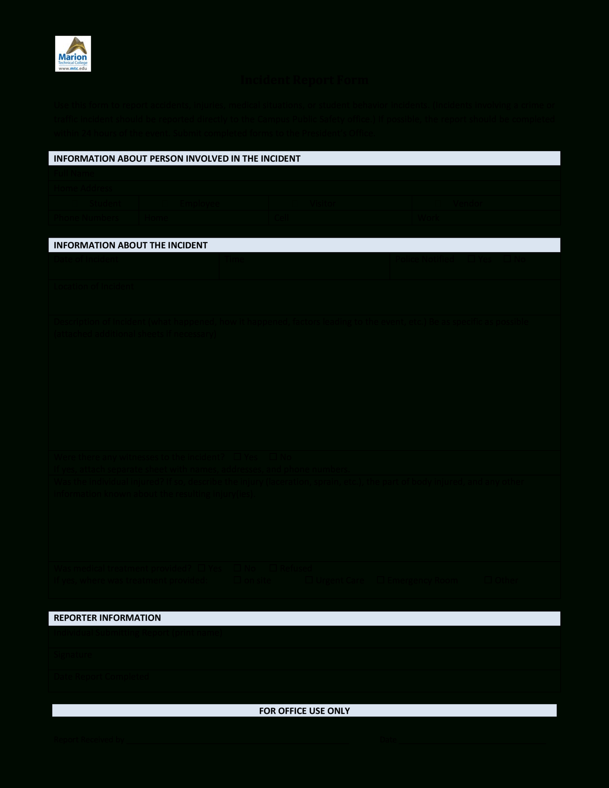 Blank Incident Report Form | Templates At Within Office Incident Report Template