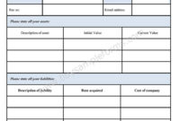 Blank Personal Financial Statement Form – Sample Forms Inside Blank Personal Financial Statement Template
