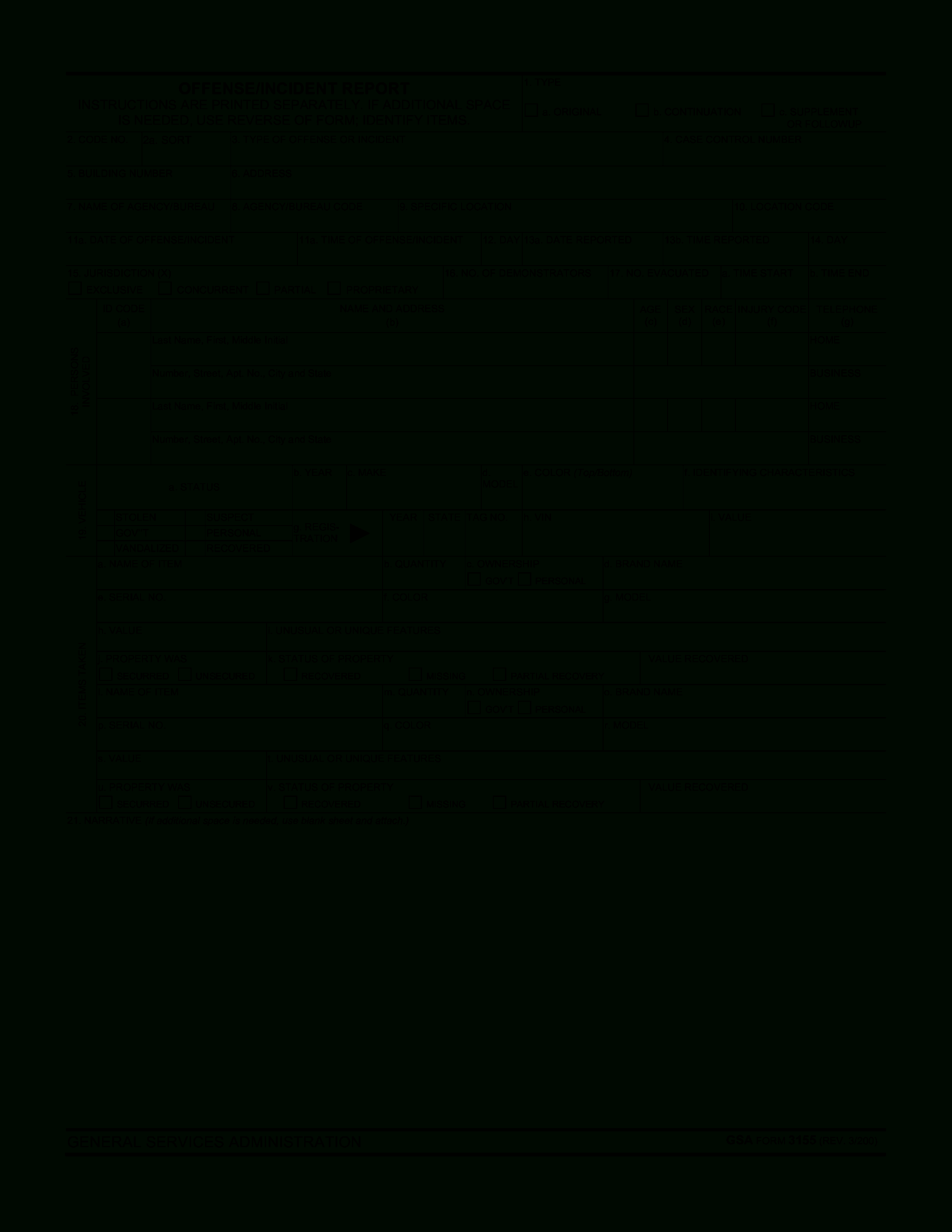 Blank Police Report Template | Templates At Within Blank Police Report Template