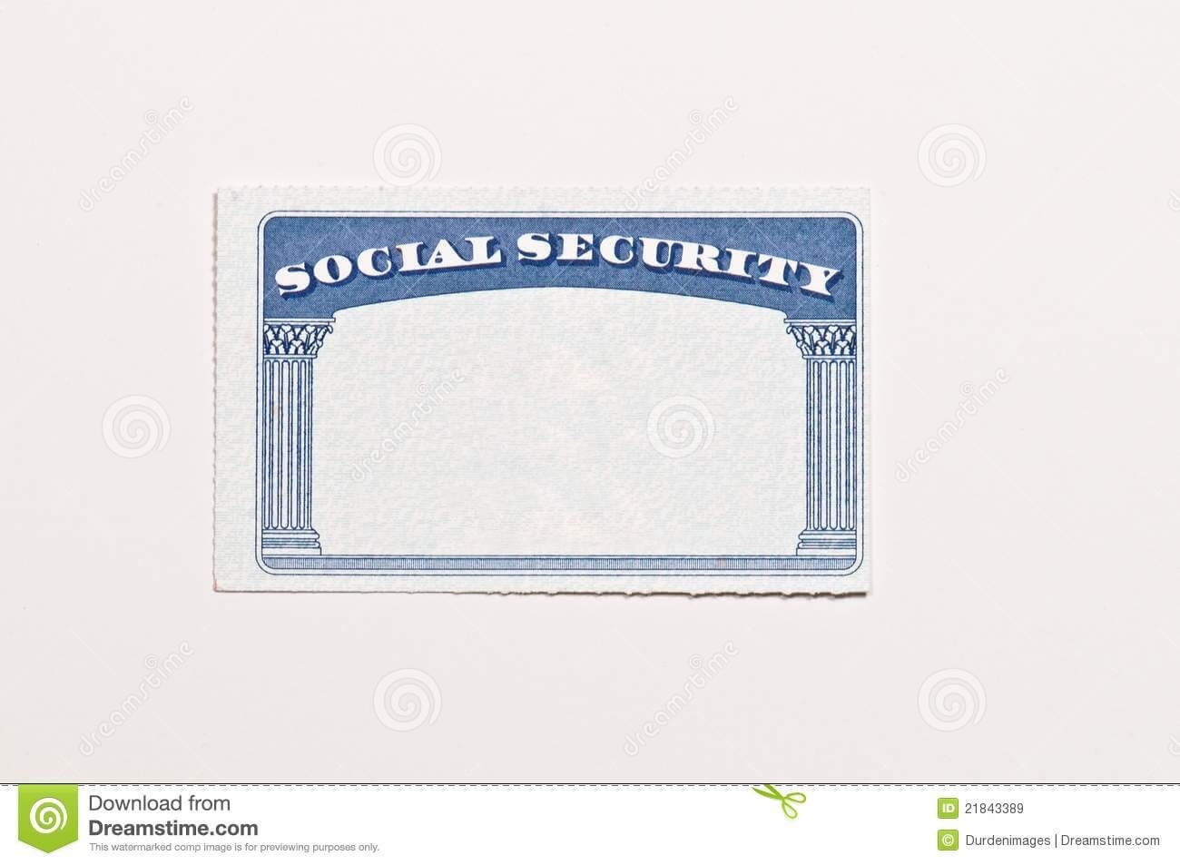 Blank Social Security Card Stock Image. Image Of Document With Regard To Social Security Card Template Free