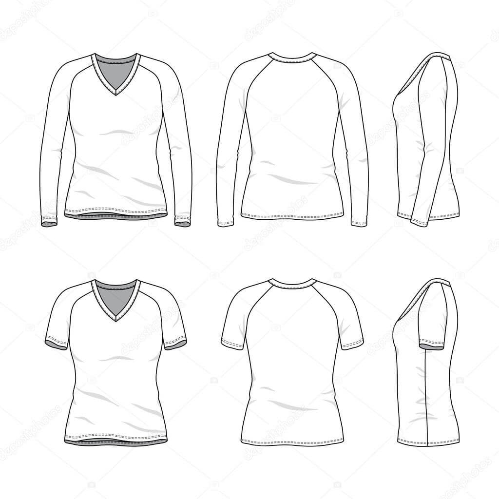 Blank V Neck T Shirt And Tee. — Stock Vector © Aunaauna2012 Intended For Blank V Neck T Shirt Template