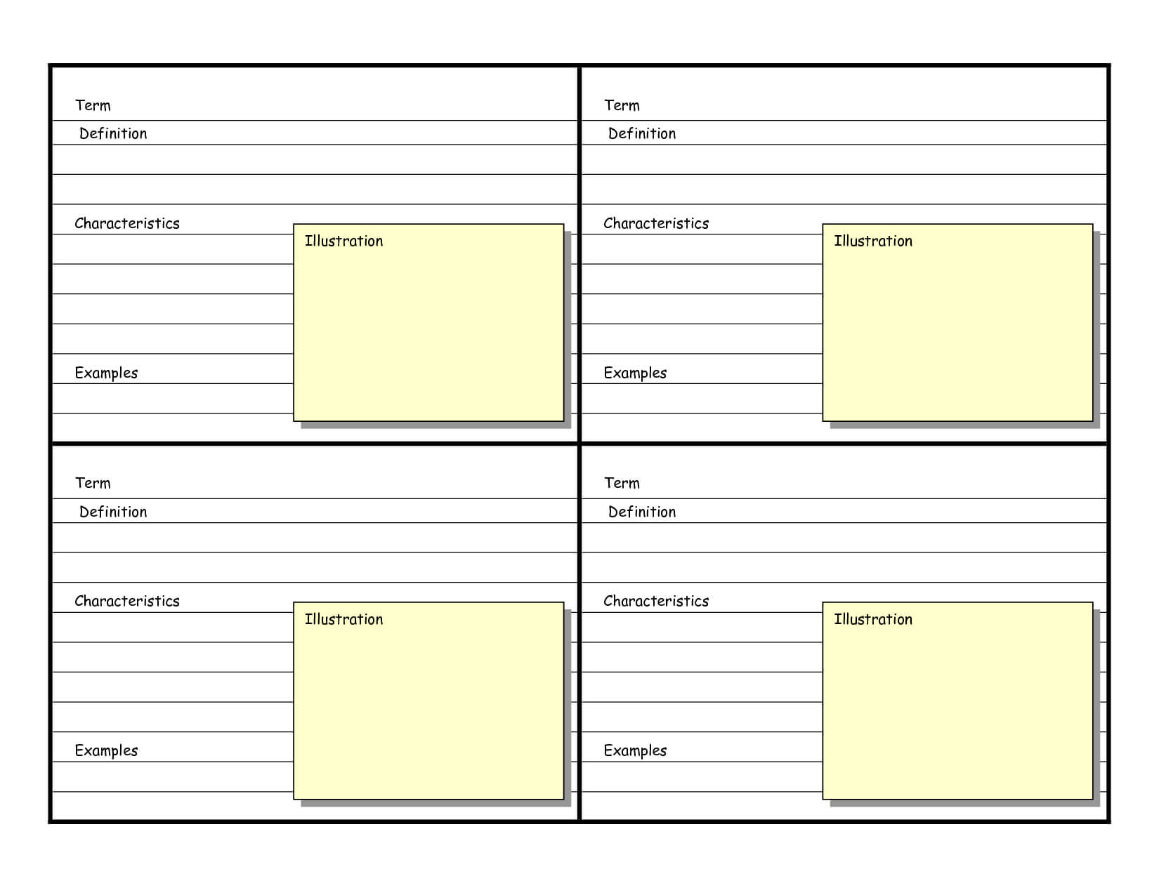 Blank Vocabulary Card Template   Vocabulary Cards Intended For Vocabulary Words Worksheet Template