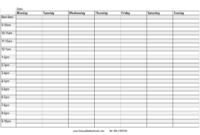 Blank+Weekly+Calendar+Template+With+Times | Timetable in Blank Revision Timetable Template