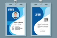 Blue Curve Wave Id Card Design Template throughout Media Id Card Templates