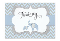 Blue Elephant Baby Shower Thank You Card | Zazzle | Baby within Template For Baby Shower Thank You Cards