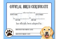 Blue Golden Retriever Birth Certificate | Birth Certificate within Pet Adoption Certificate Template
