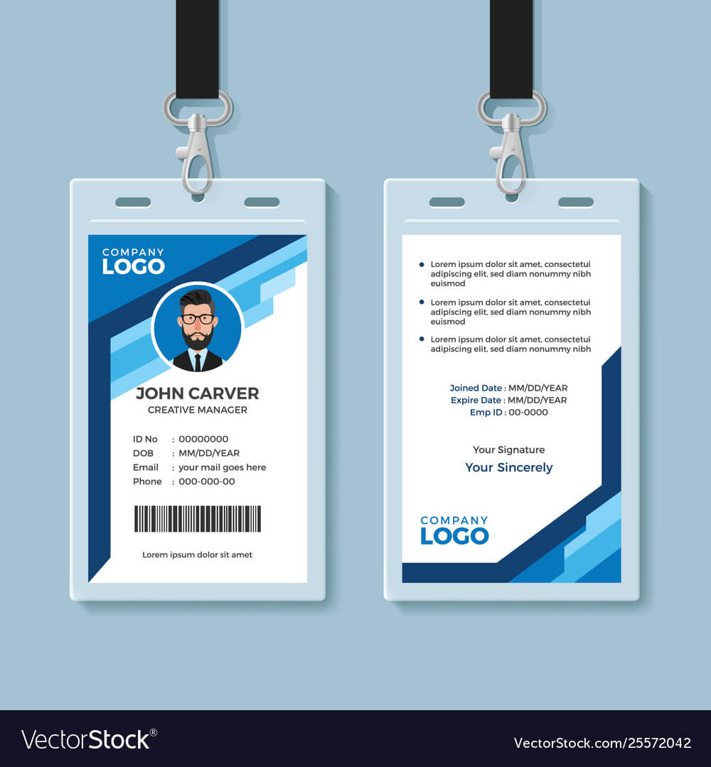 Blue Graphic Employee Id Card Template For Work Id Card Template