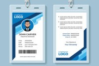 Blue Graphic Employee Id Card Template inside Doctor Id Card Template