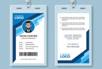 Blue Graphic Employee Id Card Template within Sample Of Id Card Template