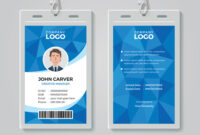 Blue Polygon Office Id Card Template in Template For Id Card Free Download