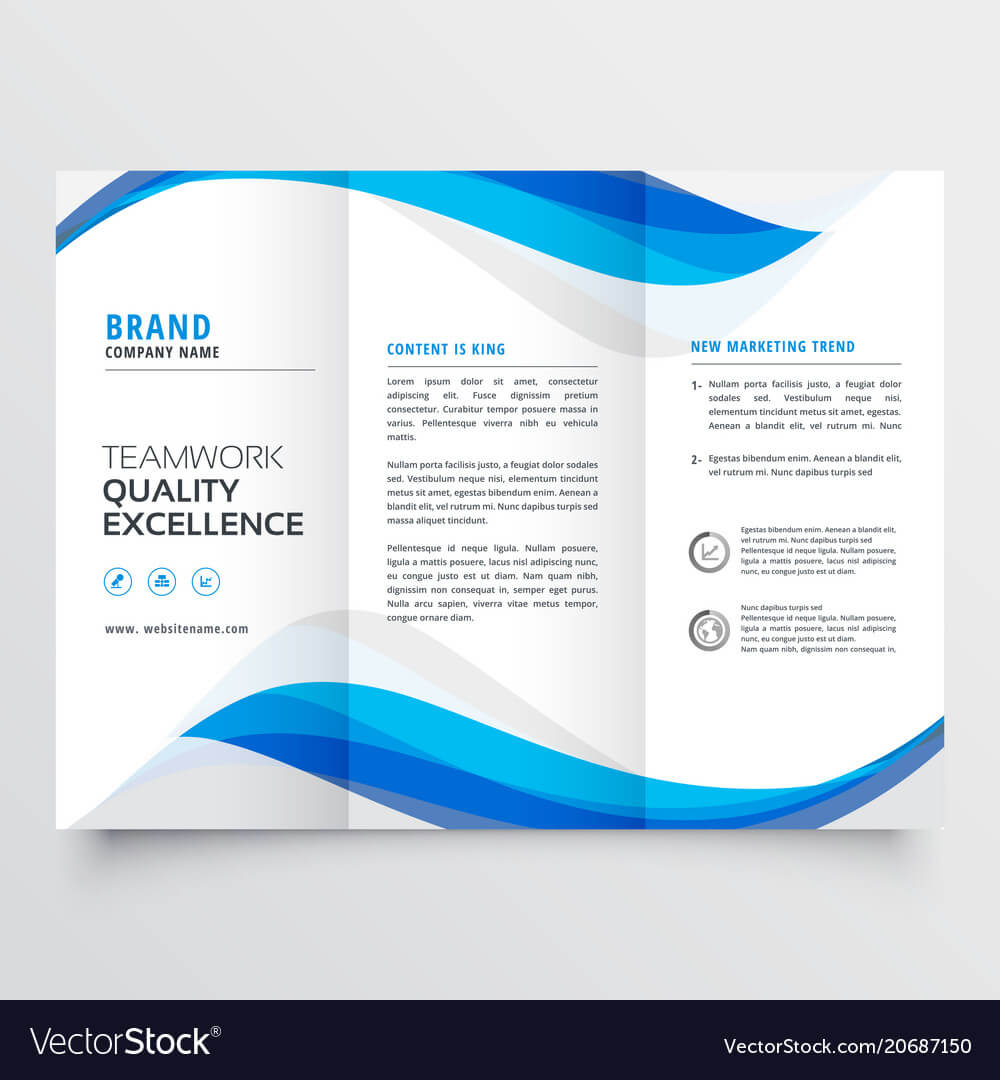 Blue Wavy Business Trifold Brochure Template Pertaining To Free Three Fold Brochure Template