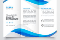 Blue Wavy Business Trifold Brochure Template within Free Illustrator Brochure Templates Download