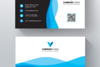 Blue Wavy Vector Business Card Template | Free Business Card in Free Complimentary Card Templates
