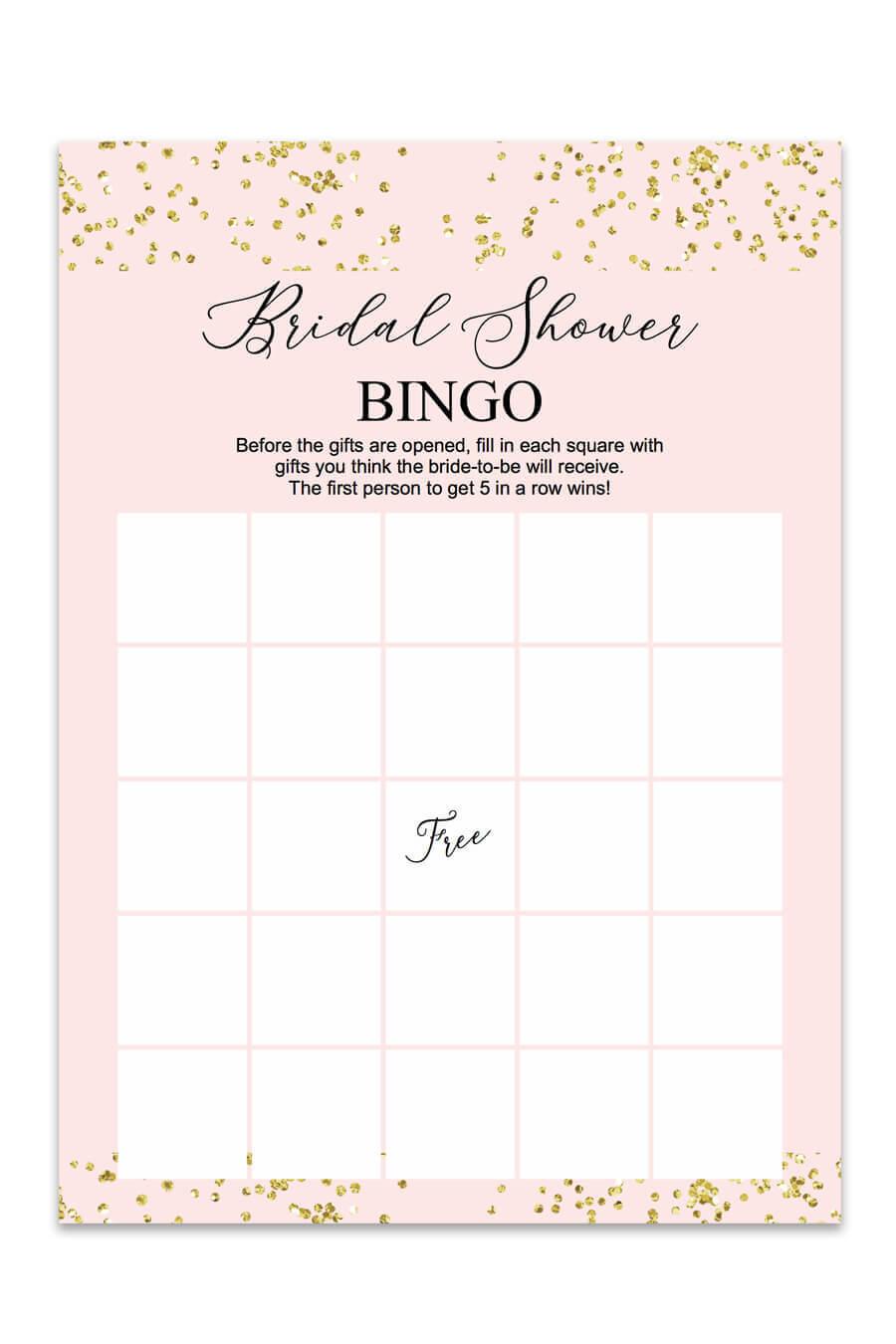 Blush And Confetti Bridal Shower Bingo - Chicfetti For Blank Bridal Shower Bingo Template