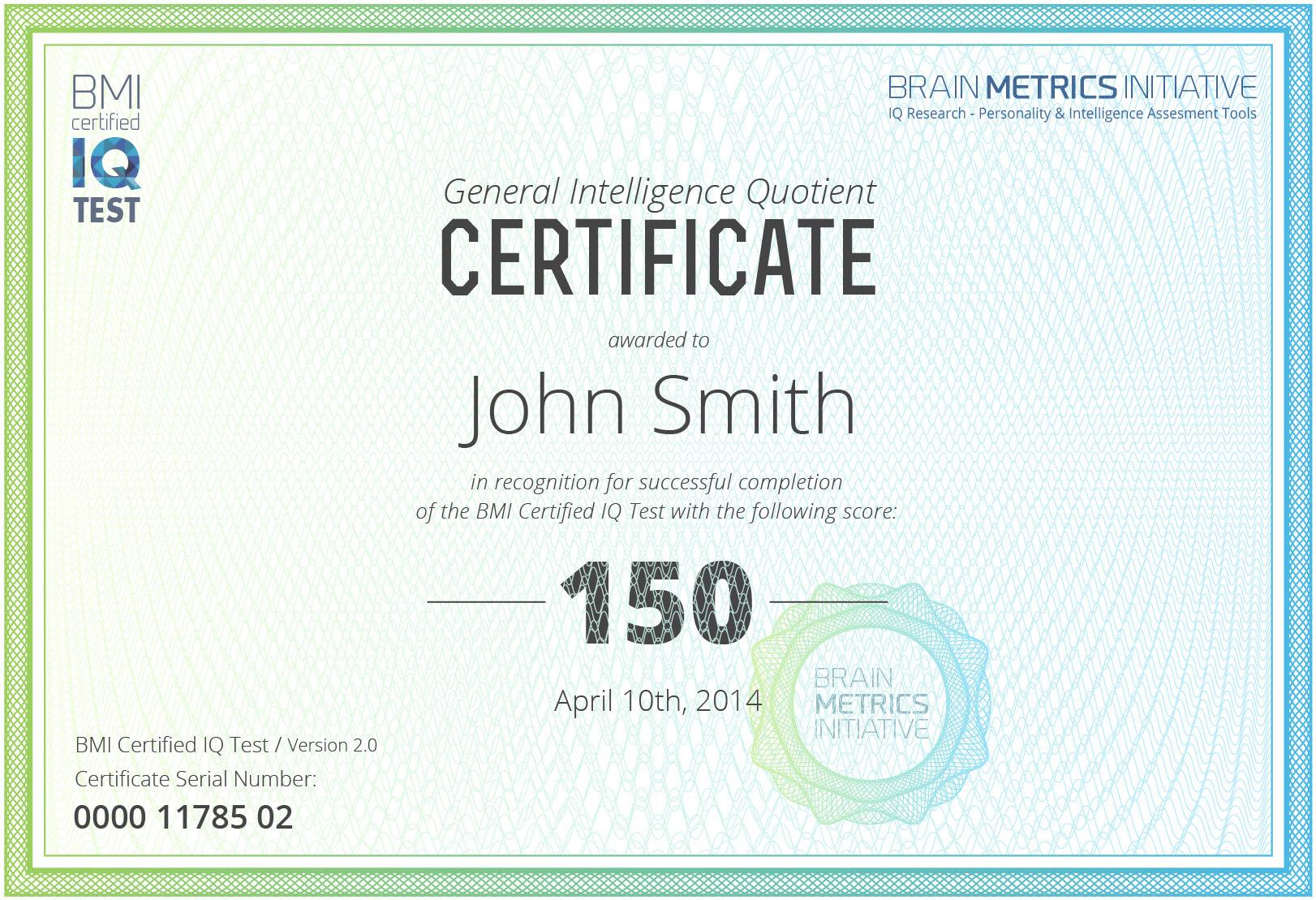 Bmi Certified Iq Test - Take The Most Accurate Online Iq Test! Regarding Iq Certificate Template