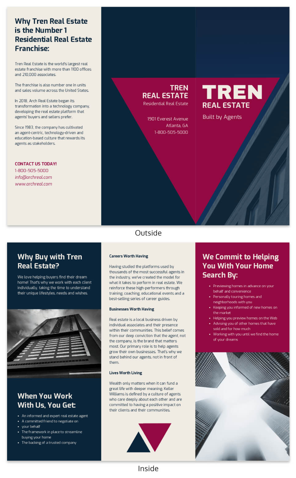 Bold Real Estate Tri Fold Brochure Template With Regard To Training Brochure Template