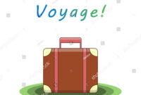 Bon Voyage Suitcase Traveling Template Card Stock Vector with Bon Voyage Card Template