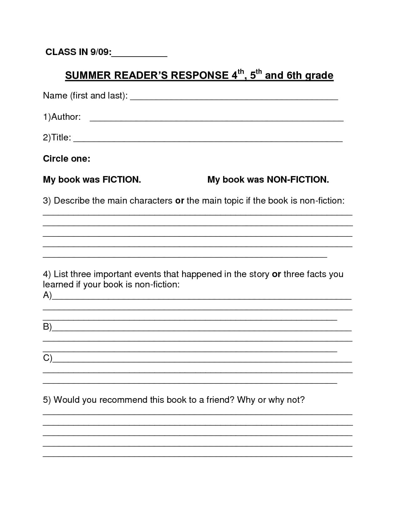 Book Report Template   Summer Book Report 4Th  6Th Grade Intended For Book Report Template 6Th Grade