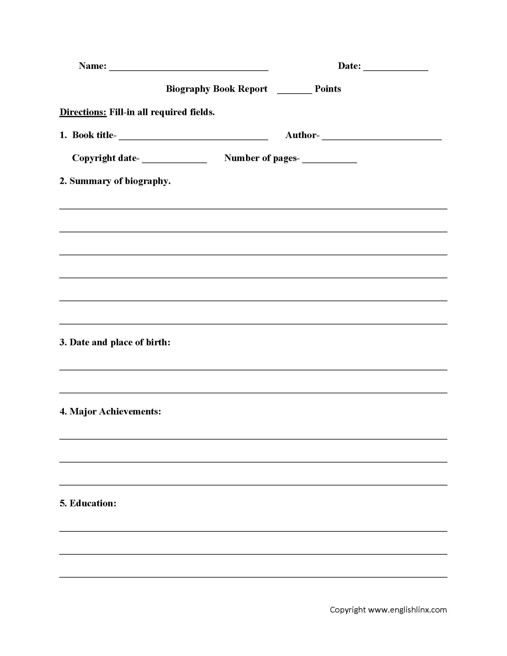 Book Report Worksheets | Biography Book Report Worksheets Regarding Biography Book Report Template