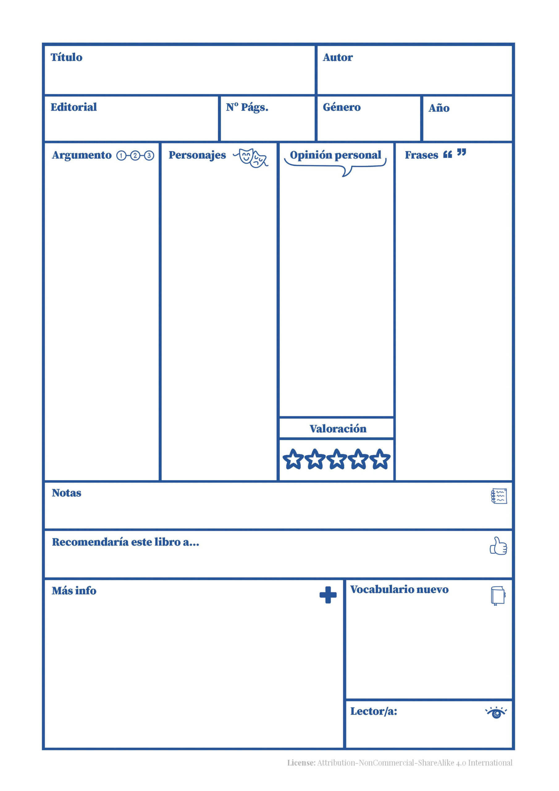 Book Review - Printable (Spanish) Intended For Book Report Template In Spanish