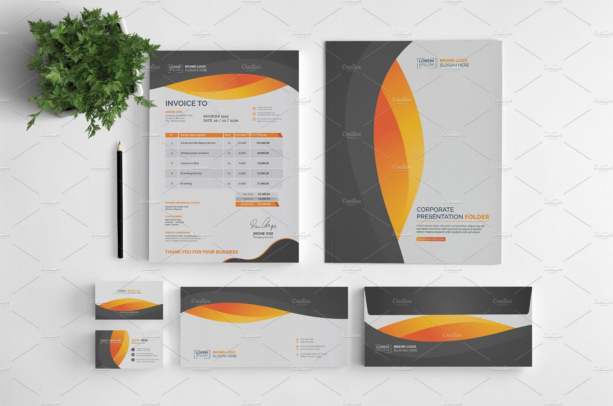 Branding Stationery Set. A Collection Of Branding/identity Regarding Business Card Letterhead Envelope Template