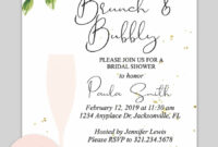 Bridal Shower Printable Invitation (Floral Bubbly | Wedding in Blank Bridal Shower Invitations Templates