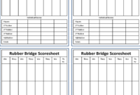 Bridge Score Sheet – 6 Free Templates In Pdf, Word, Excel with Bridge Score Card Template