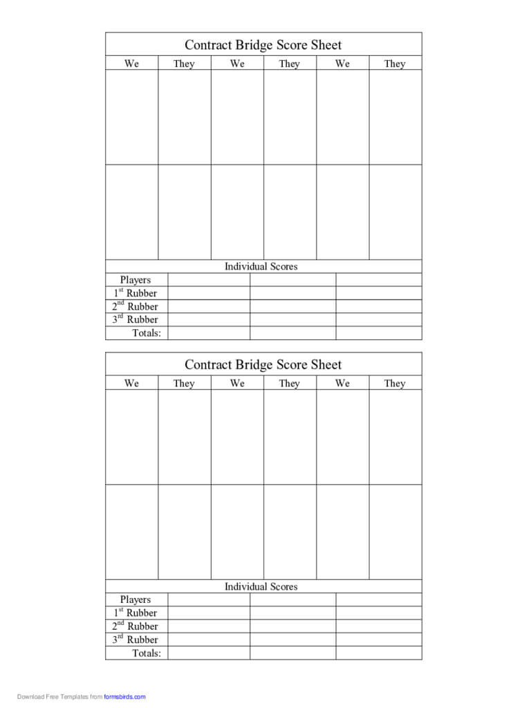 Bridge Score Sheet - 6 Free Templates In Pdf, Word, Excel With Regard To Bridge Score Card Template