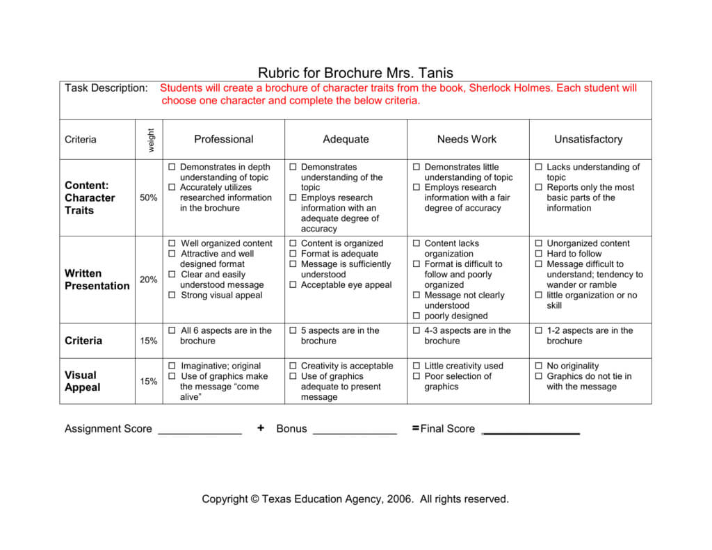 Brochure Grading Frankenstein With Regard To Brochure Rubric Template